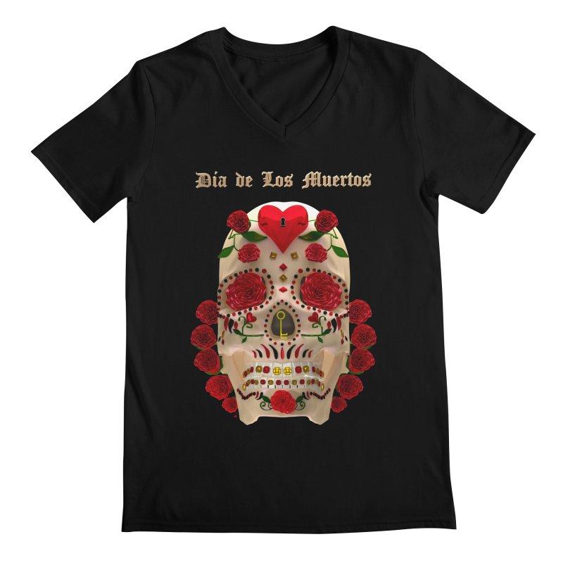 Dia De Los Muertos Key To Your Heart Men's V-Neck by Armando Padilla Artist Shop