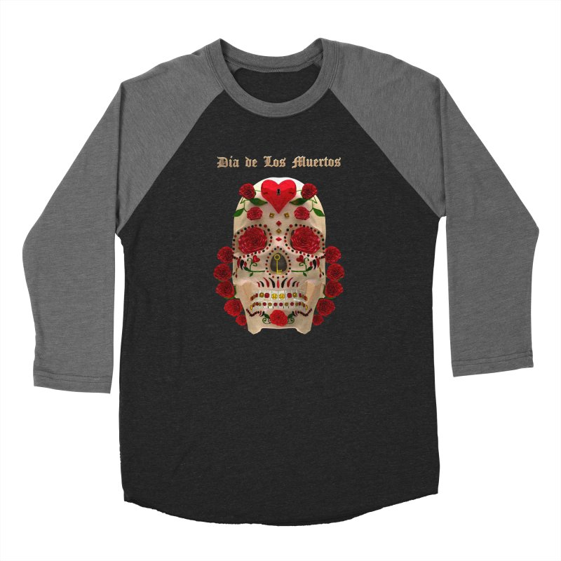 Dia De Los Muertos Key To Your Heart Men's Baseball Triblend Longsleeve T-Shirt by Armando Padilla Artist Shop
