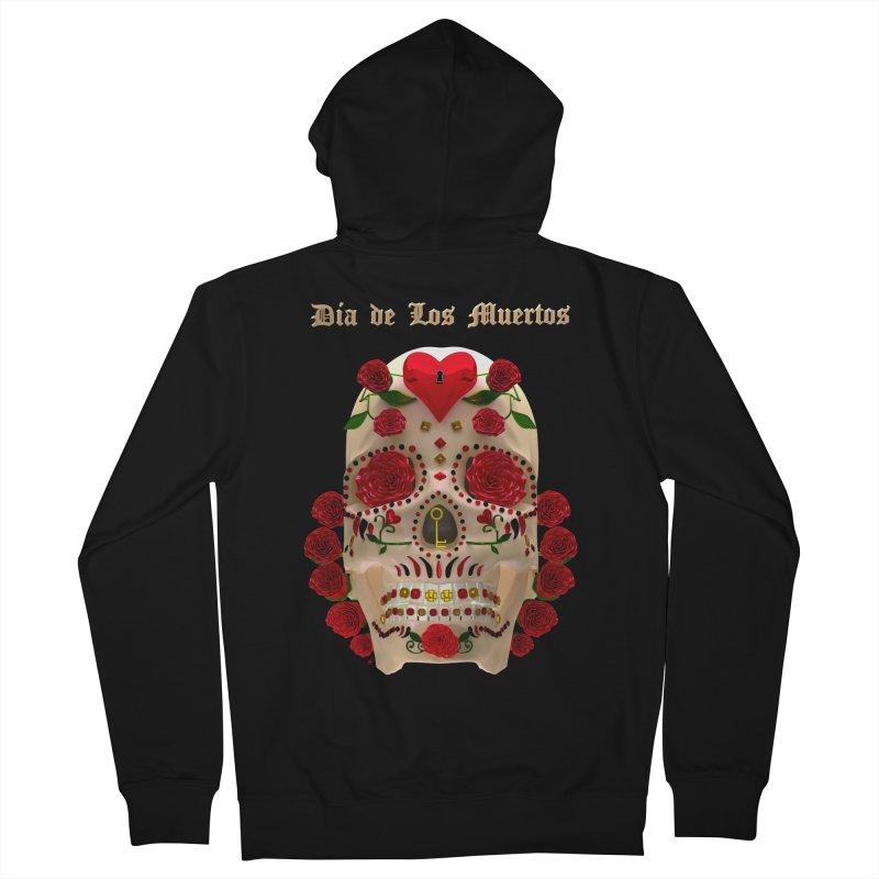 Dia De Los Muertos Key To Your Heart Women's French Terry Zip-Up Hoody by Armando Padilla Artist Shop