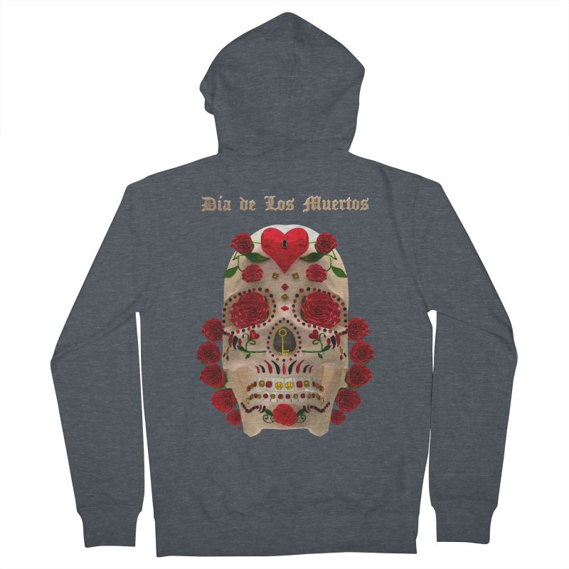 Dia De Los Muertos Key To Your Heart Men's French Terry Zip-Up Hoody by Armando Padilla Artist Shop