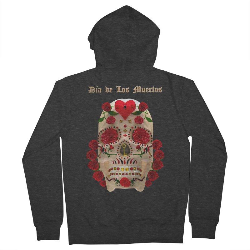 Dia De Los Muertos Key To Your Heart Men's French Terry Zip-Up Hoody by Armando Padilla Artist Shop