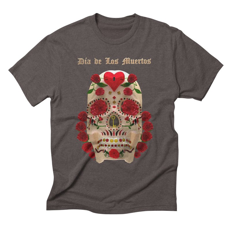 Dia De Los Muertos Key To Your Heart Men's Triblend T-Shirt by Armando Padilla Artist Shop