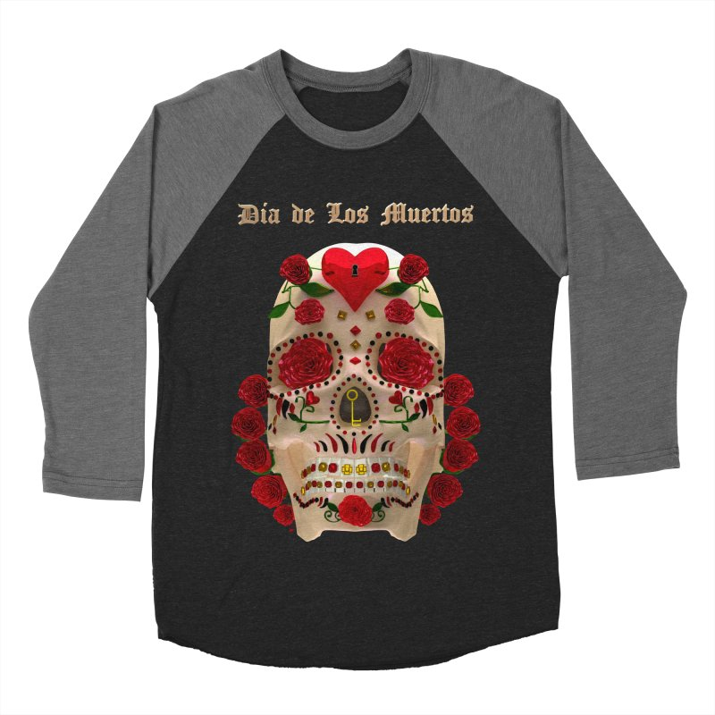 Dia De Los Muertos Key To Your Heart Men's Baseball Triblend Longsleeve T-Shirt by Armando Padilla Artist Shop