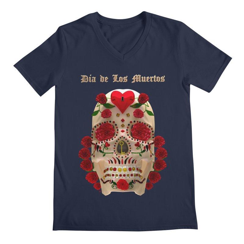 Dia De Los Muertos Key To Your Heart Men's Regular V-Neck by Armando Padilla Artist Shop