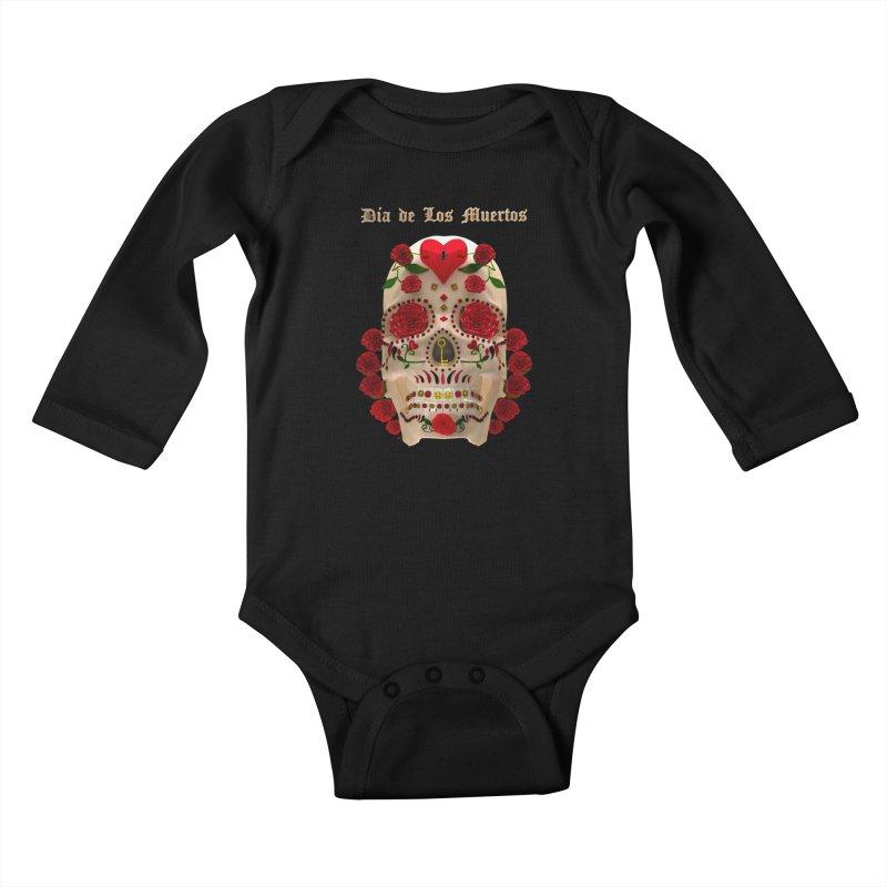 Dia De Los Muertos Key To Your Heart Kids Baby Longsleeve Bodysuit by Armando Padilla Artist Shop