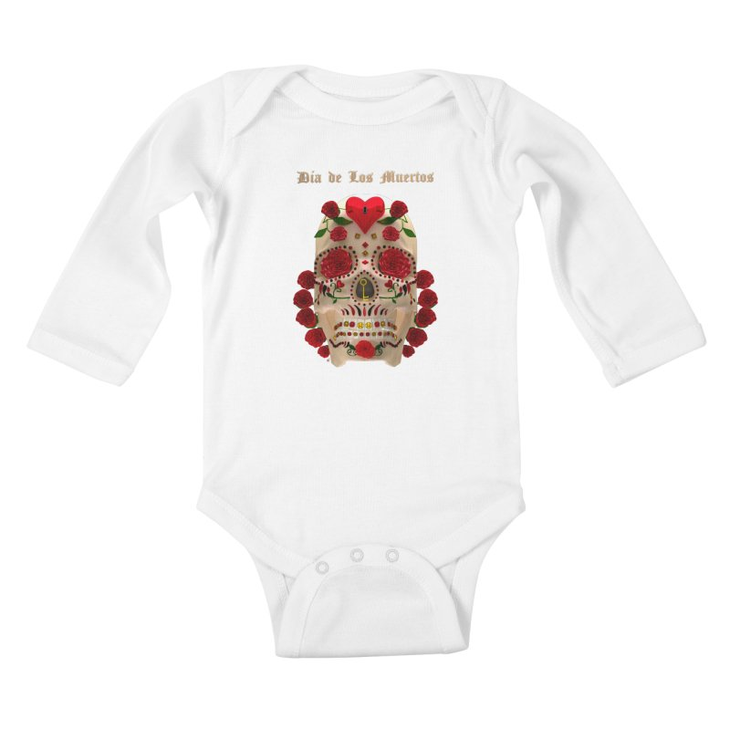 Dia De Los Muertos Key To Your Heart Kids Baby Longsleeve Bodysuit by Armando Padilla Artist Shop