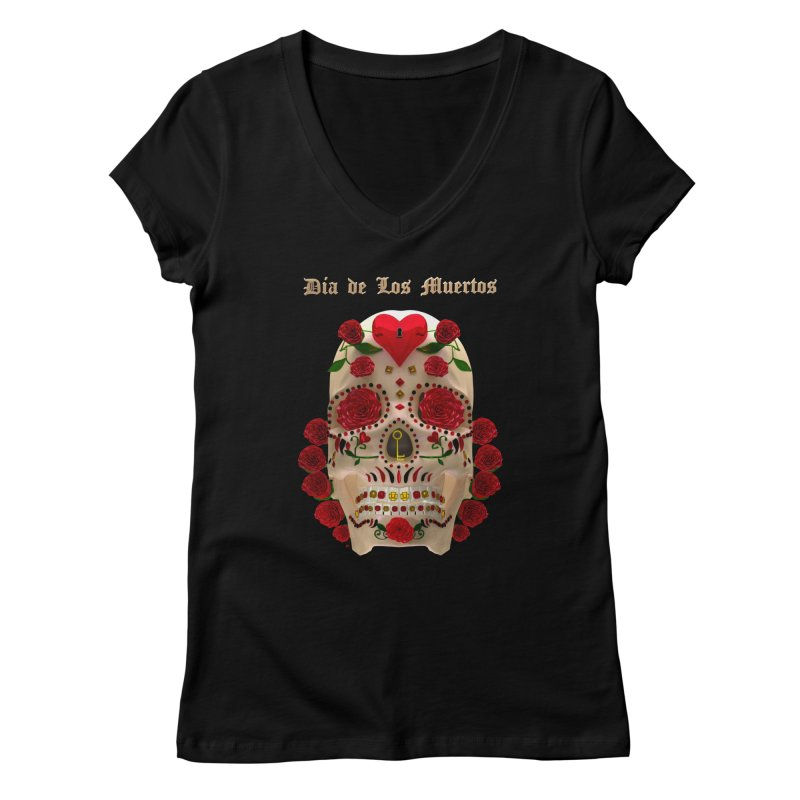 Dia De Los Muertos Key To Your Heart Women's V-Neck by Armando Padilla Artist Shop