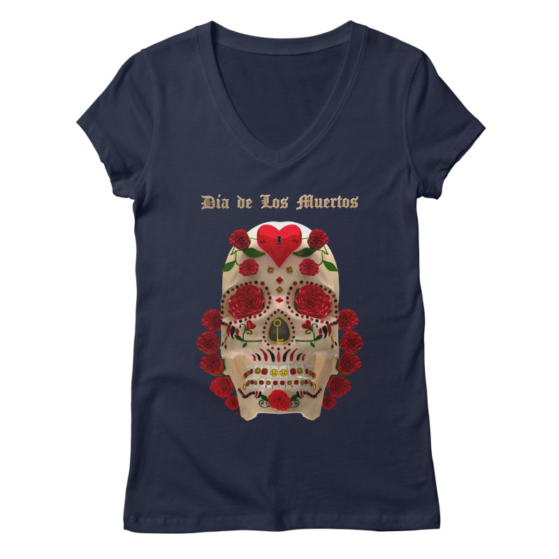 Dia De Los Muertos Key To Your Heart Women's Regular V-Neck by Armando Padilla Artist Shop
