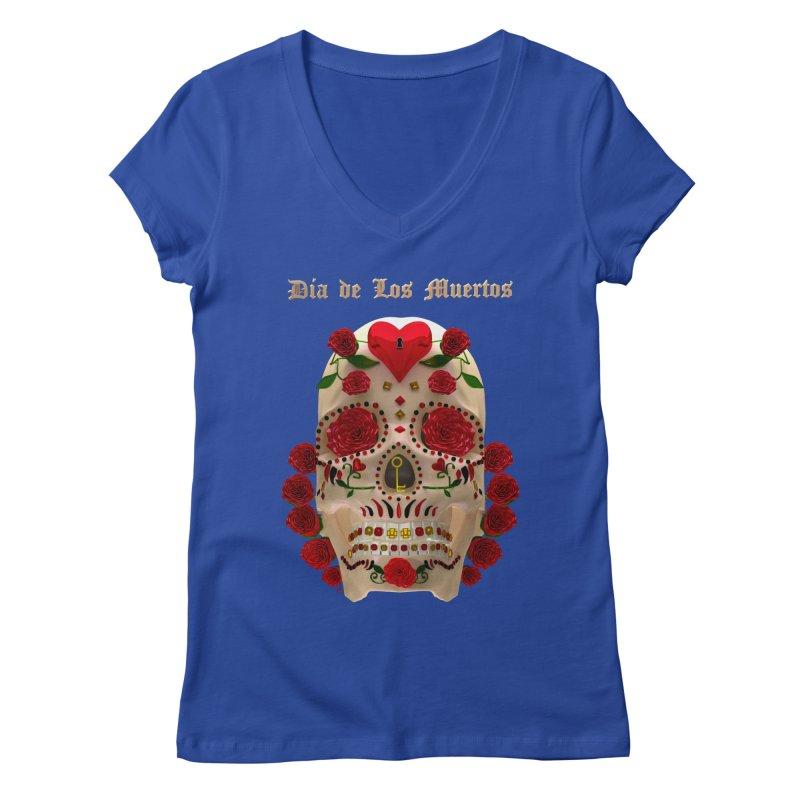 Dia De Los Muertos Key To Your Heart Women's Regular V-Neck by Armando Padilla Artist Shop