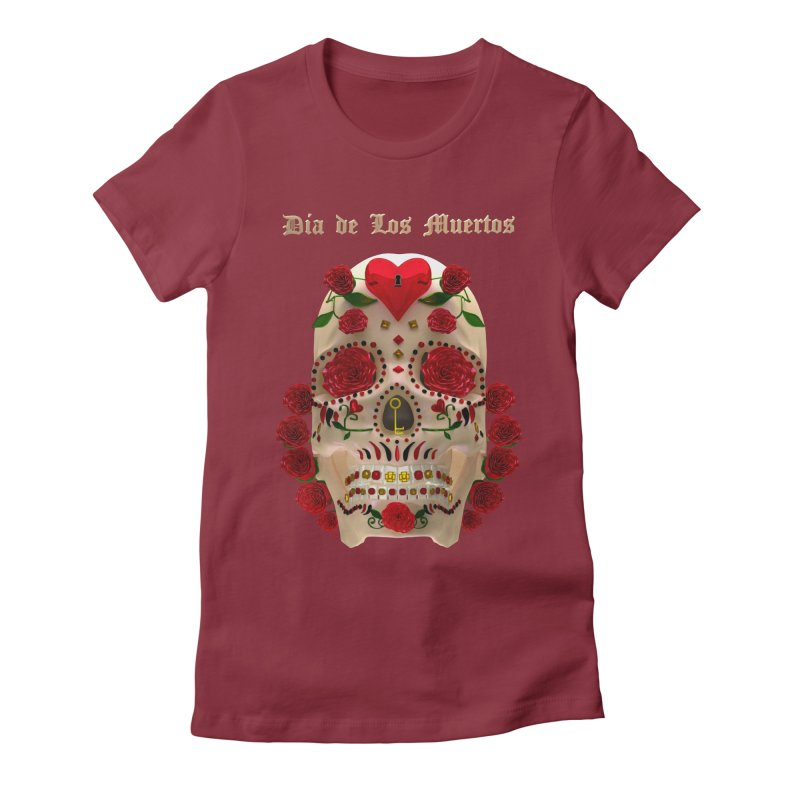 Dia De Los Muertos Key To Your Heart Women's Fitted T-Shirt by Armando Padilla Artist Shop