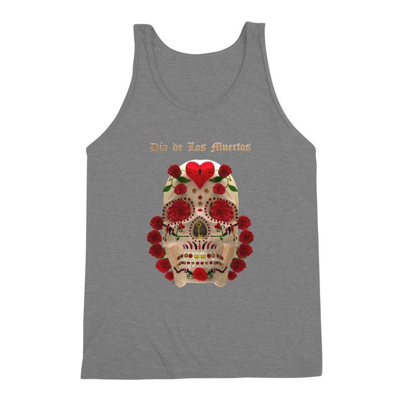 Dia De Los Muertos Key To Your Heart Men's Triblend Tank by Armando Padilla Artist Shop