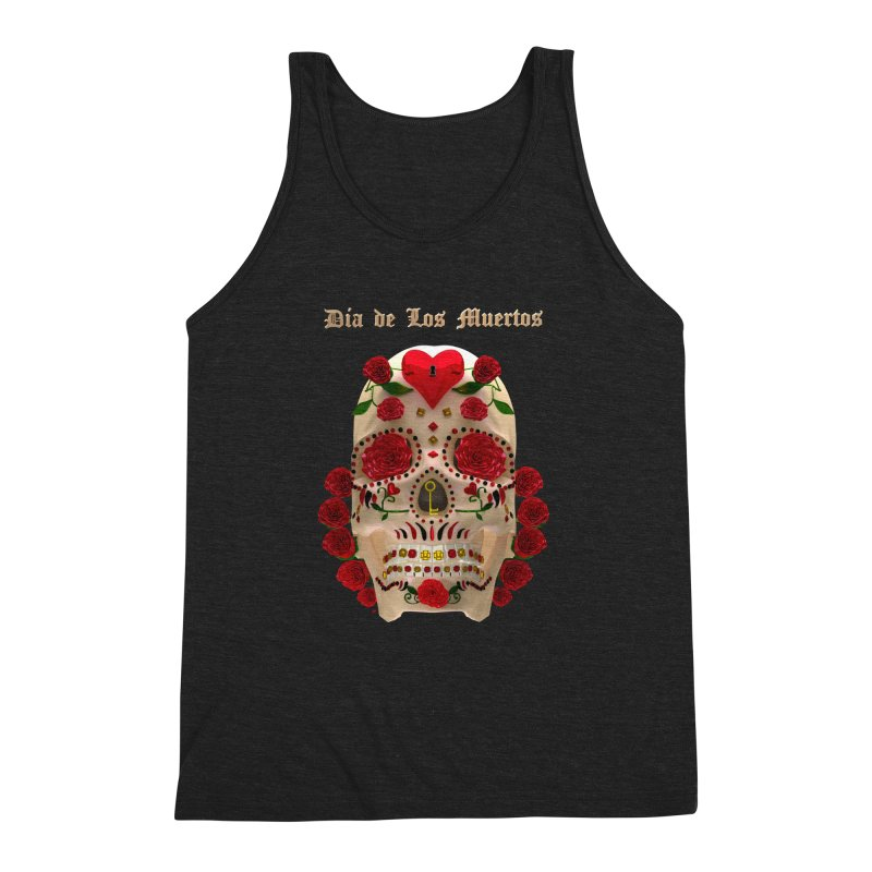 Dia De Los Muertos Key To Your Heart Men's Triblend Tank by Armando Padilla Artist Shop