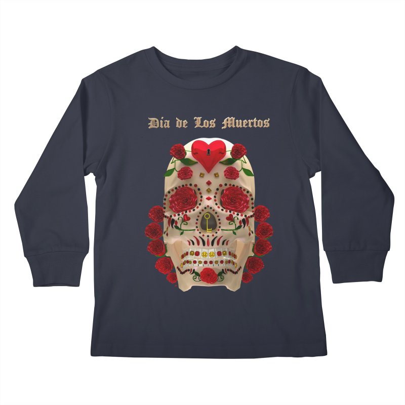 Dia De Los Muertos Key To Your Heart Kids Longsleeve T-Shirt by Armando Padilla Artist Shop