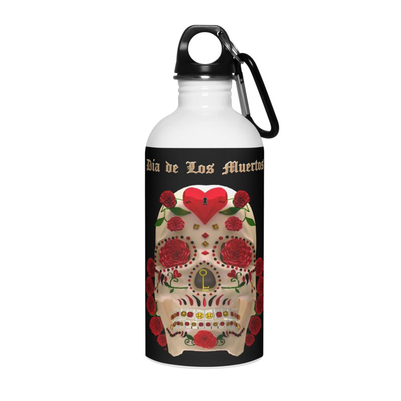 Dia De Los Muertos Key To Your Heart Accessories Water Bottle by Armando Padilla Artist Shop