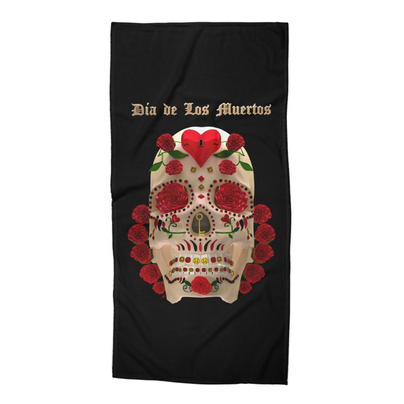 Dia De Los Muertos Key To Your Heart Accessories Beach Towel by Armando Padilla Artist Shop