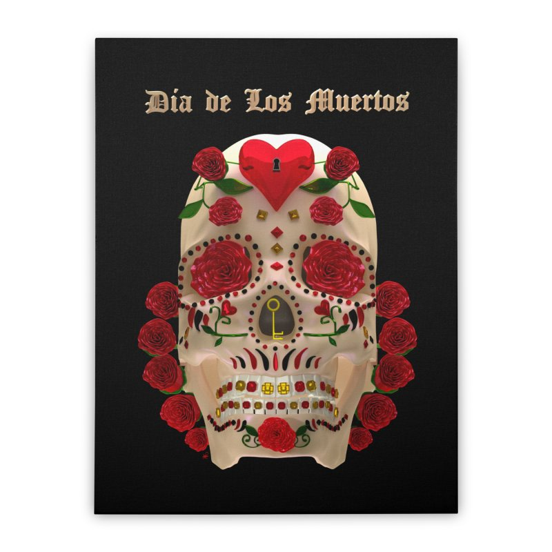 Dia De Los Muertos Key To Your Heart Home Stretched Canvas by Armando Padilla Artist Shop