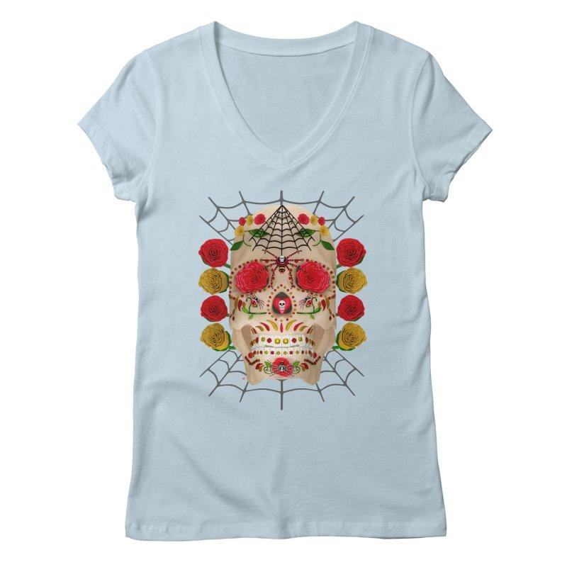 Dia De Los Muertos - Family Women's Regular V-Neck by Armando Padilla Artist Shop