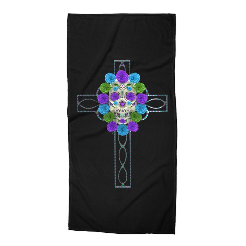 Dia de Los Muertos - Cross My Heart Accessories Beach Towel by Armando Padilla Artist Shop