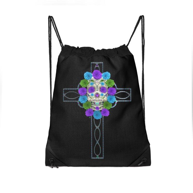 Dia de Los Muertos - Cross My Heart Accessories Drawstring Bag Bag by Armando Padilla Artist Shop