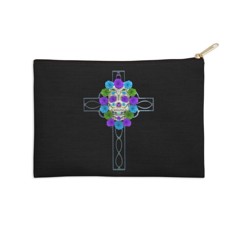 Dia de Los Muertos - Cross My Heart Accessories Zip Pouch by Armando Padilla Artist Shop