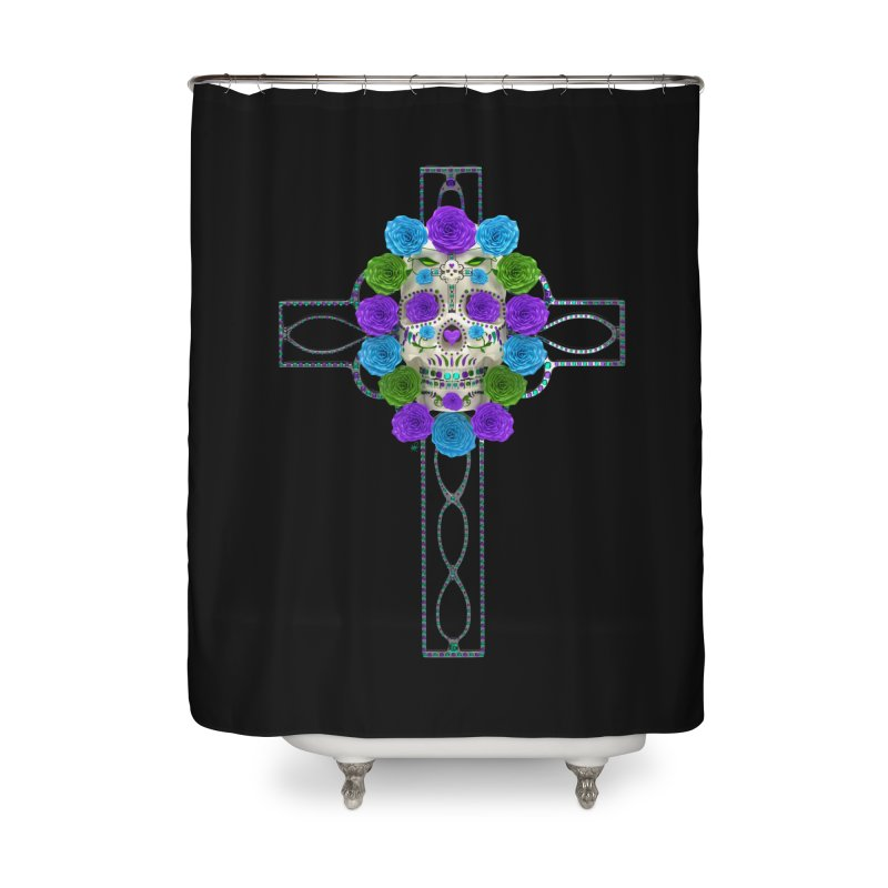 Dia de Los Muertos - Cross My Heart Home Shower Curtain by Armando Padilla Artist Shop