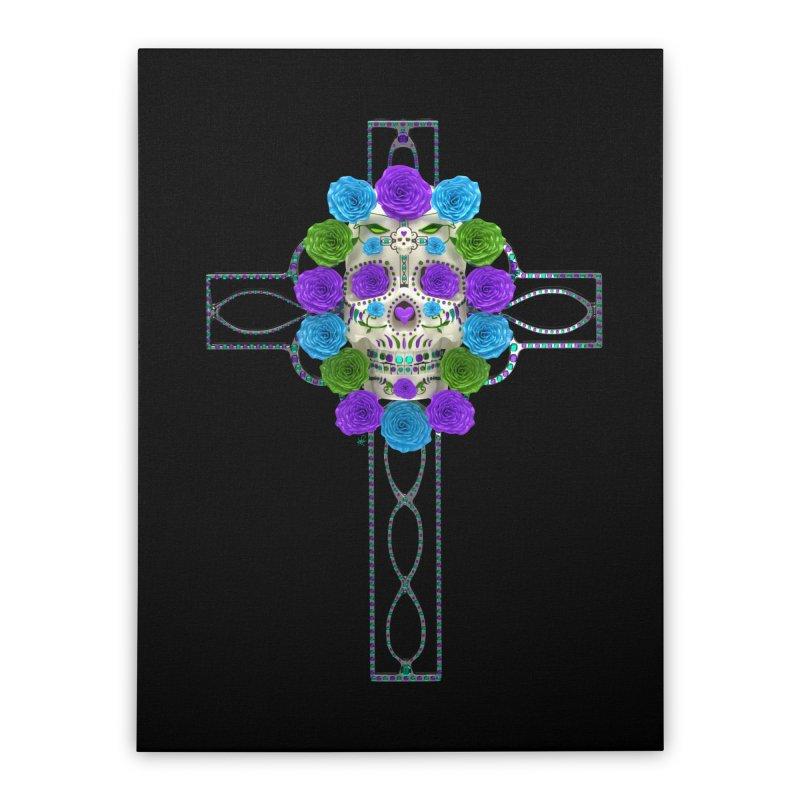 Dia de Los Muertos - Cross My Heart Home Stretched Canvas by Armando Padilla Artist Shop
