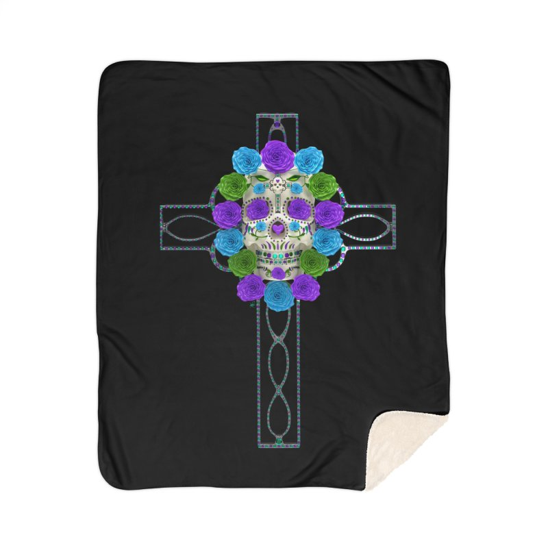 Dia de Los Muertos - Cross My Heart Home Sherpa Blanket Blanket by Armando Padilla Artist Shop