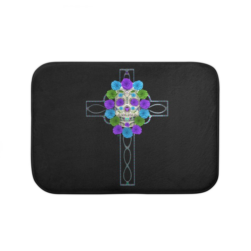 Dia de Los Muertos - Cross My Heart Home Bath Mat by Armando Padilla Artist Shop