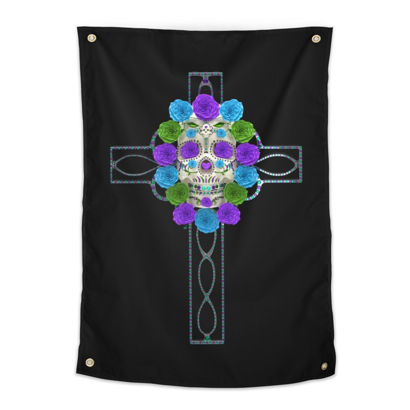 Dia de Los Muertos - Cross My Heart Home Tapestry by Armando Padilla Artist Shop