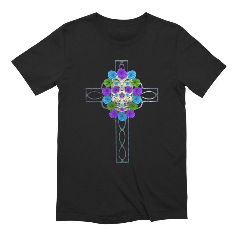Dia de Los Muertos - Cross My Heart in Men's Extra Soft T-Shirt Black by Armando Padilla Artist Shop