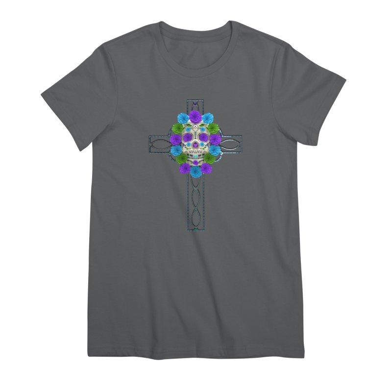 Dia de Los Muertos - Cross My Heart Women's Premium T-Shirt by Armando Padilla Artist Shop