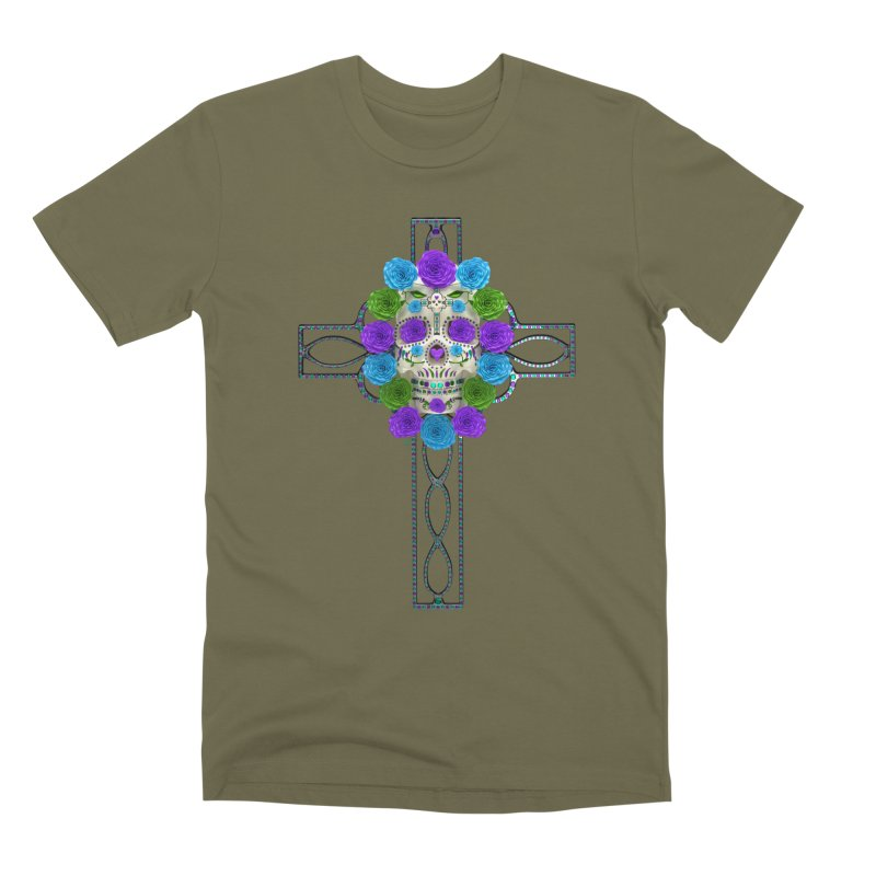 Dia de Los Muertos - Cross My Heart Men's Premium T-Shirt by Armando Padilla Artist Shop