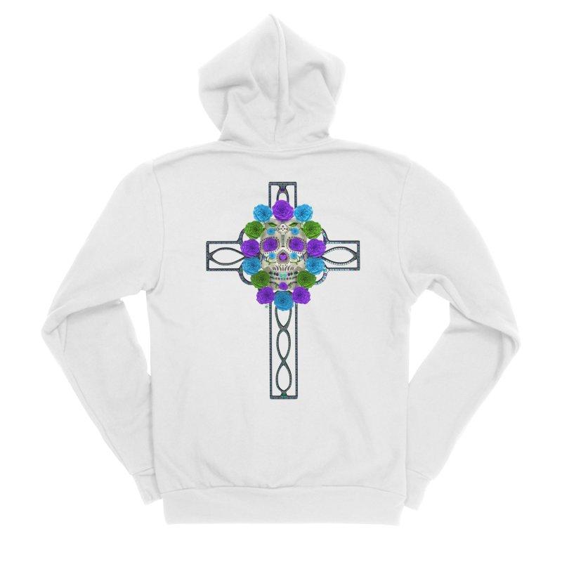 Dia de Los Muertos - Cross My Heart Women's Sponge Fleece Zip-Up Hoody by Armando Padilla Artist Shop