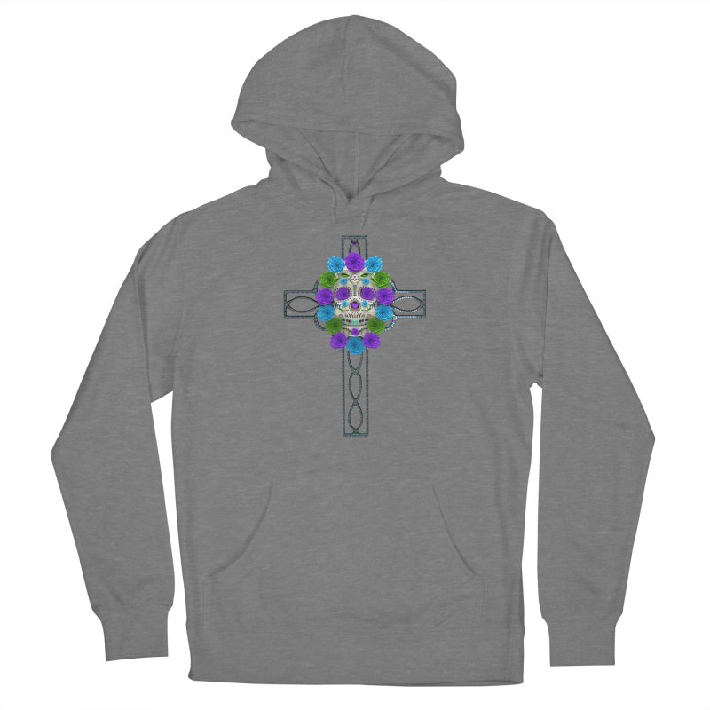 Dia de Los Muertos - Cross My Heart Men's French Terry Pullover Hoody by Armando Padilla Artist Shop