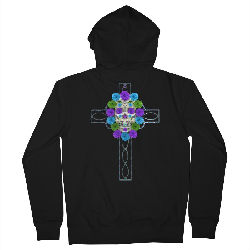 Dia de Los Muertos - Cross My Heart Men's French Terry Zip-Up Hoody by Armando Padilla Artist Shop