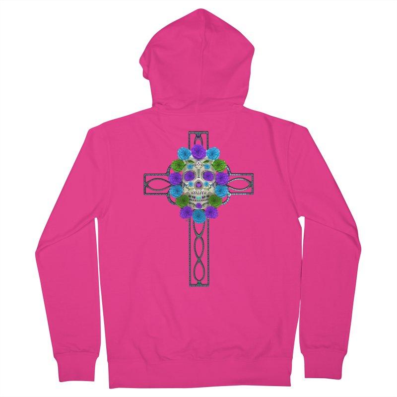 Dia de Los Muertos - Cross My Heart Men's French Terry Zip-Up Hoody by Armando Padilla Artist Shop