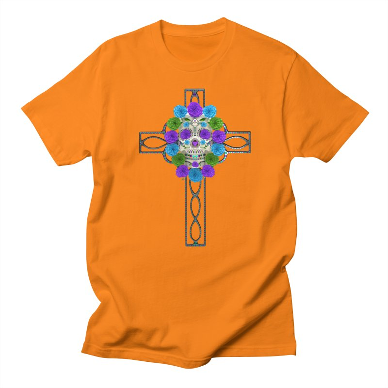 Dia de Los Muertos - Cross My Heart Men's Regular T-Shirt by Armando Padilla Artist Shop
