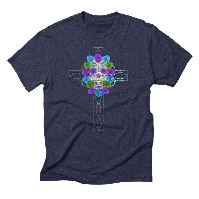 Dia de Los Muertos - Cross My Heart Men's Triblend T-Shirt by Armando Padilla Artist Shop