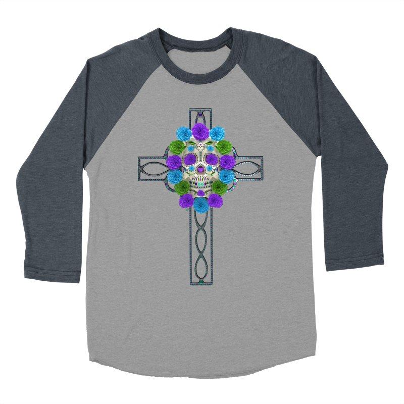 Dia de Los Muertos - Cross My Heart Men's Baseball Triblend Longsleeve T-Shirt by Armando Padilla Artist Shop