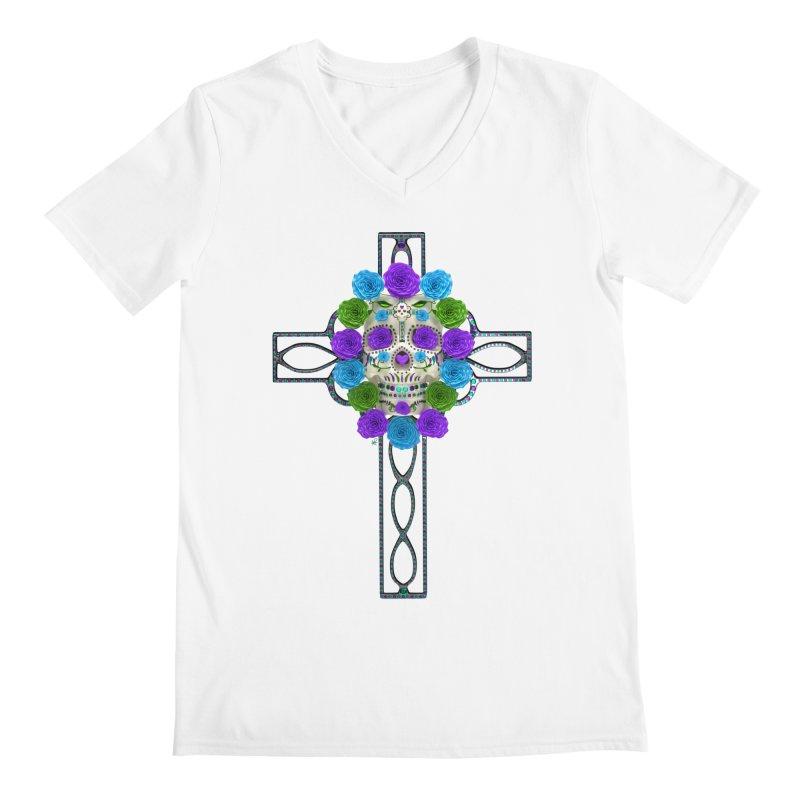 Dia de Los Muertos - Cross My Heart Men's V-Neck by Armando Padilla Artist Shop
