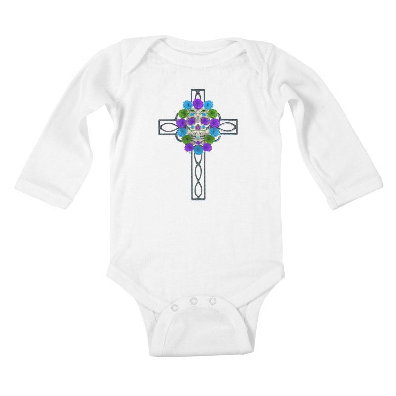 Dia de Los Muertos - Cross My Heart Kids Baby Longsleeve Bodysuit by Armando Padilla Artist Shop