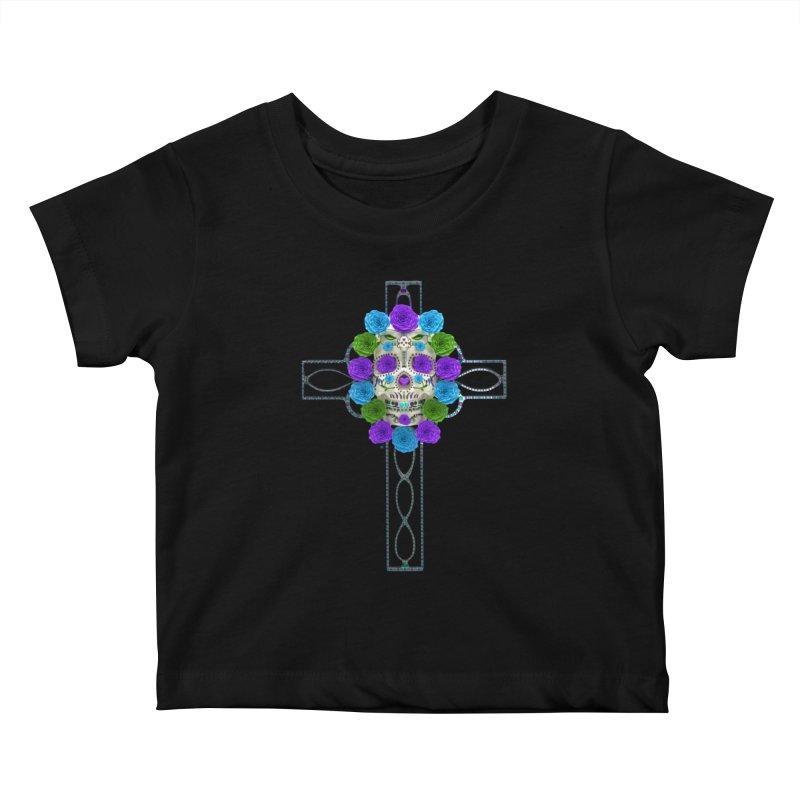 Dia de Los Muertos - Cross My Heart Kids Baby T-Shirt by Armando Padilla Artist Shop