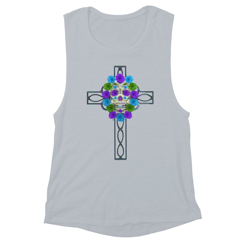 Dia de Los Muertos - Cross My Heart Women's Muscle Tank by Armando Padilla Artist Shop