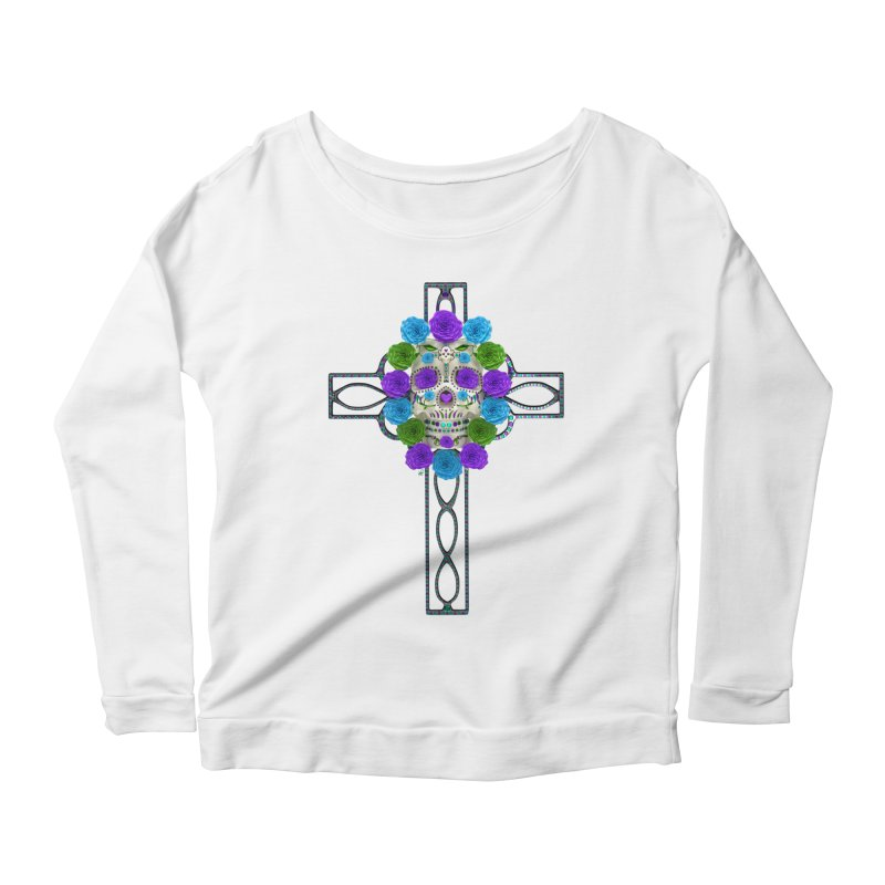 Dia de Los Muertos - Cross My Heart Women's Scoop Neck Longsleeve T-Shirt by Armando Padilla Artist Shop
