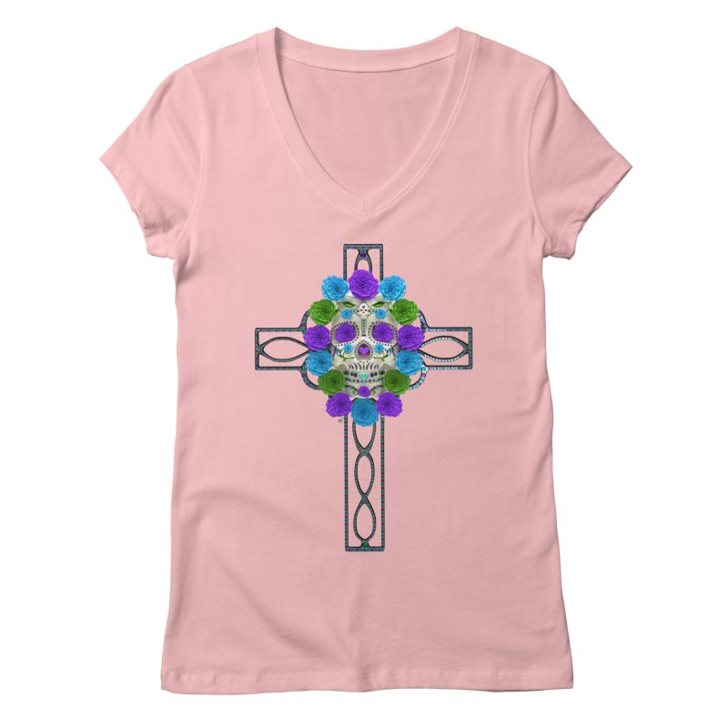 Dia de Los Muertos - Cross My Heart Women's Regular V-Neck by Armando Padilla Artist Shop