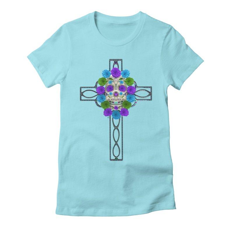 Dia de Los Muertos - Cross My Heart Women's Fitted T-Shirt by Armando Padilla Artist Shop