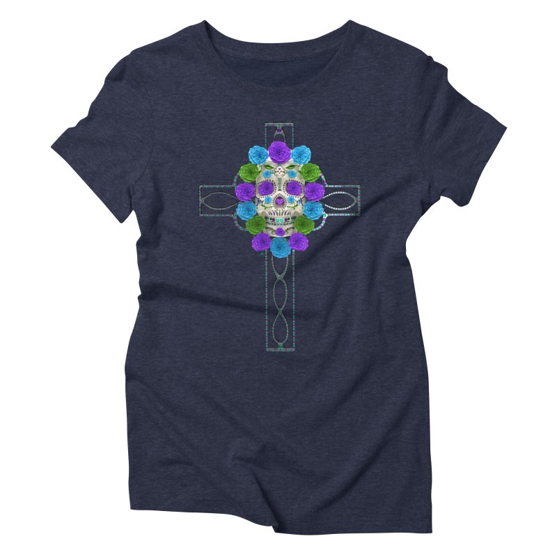 Dia de Los Muertos - Cross My Heart Women's Triblend T-Shirt by Armando Padilla Artist Shop