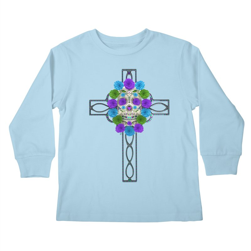 Dia de Los Muertos - Cross My Heart Kids Longsleeve T-Shirt by Armando Padilla Artist Shop