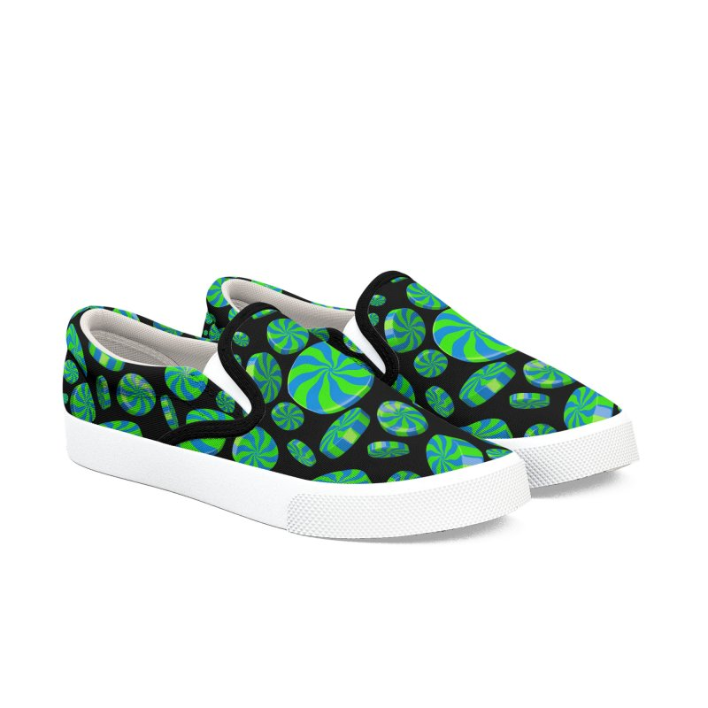Apple Sky Peppermint Women's Slip-On Shoes by Armando Padilla Artist Shop