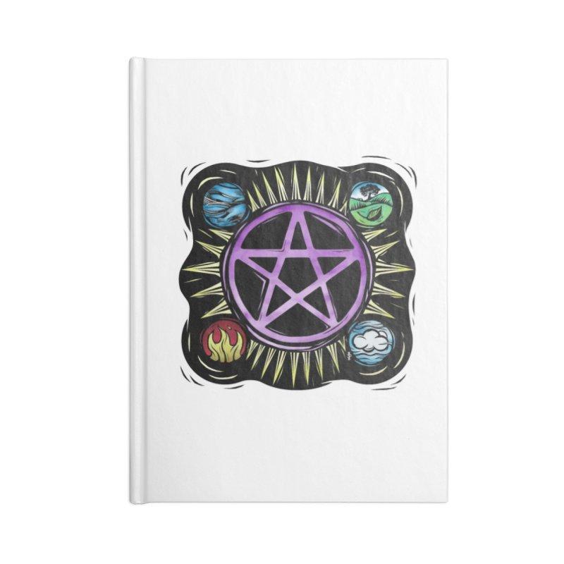 Elemental Pentagram Accessories Blank Journal Notebook by Mandragora Magika